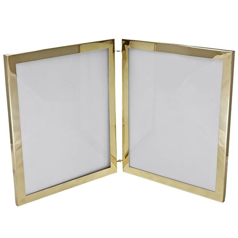 Cartier Rare Large Gold Double Picture Frame For Sale