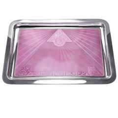Pink Enamel Sterling Silver Vanity Tray