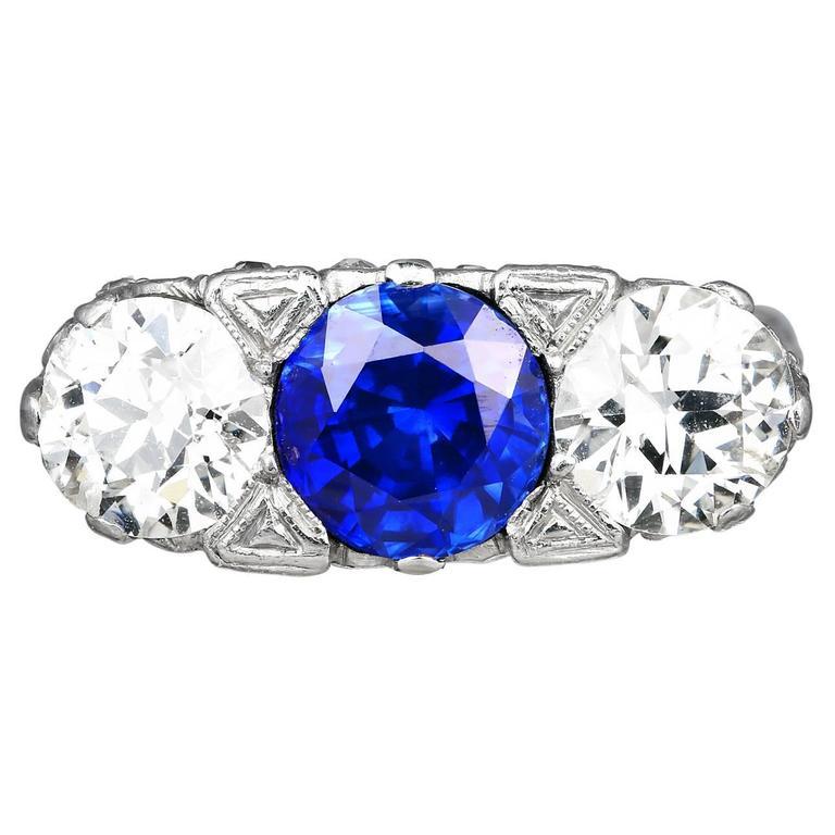 2.52 Carat Round Sapphire Diamond Platinum 3 Stone Ring