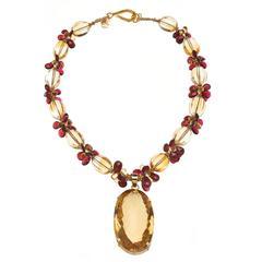 Deborah Liebman 270 Carat Orange Citrine Pendant on Citrine Garnet Gold Necklace