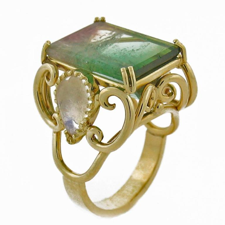 Bicolor Tourmaline Moonstone Gold Ring For Sale