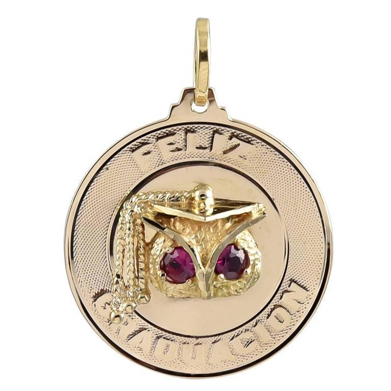 Feliz Graduacion Ruby Gold Charm For Sale at 1stdibs