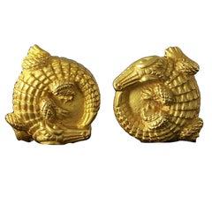 Kieselstein-Cord Pair of Gold Alligator Earrings