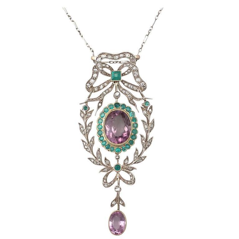 9.88 Carat Amethyst, 1.25 Carat Emerald, 1.13 Carat Diamond, Gold Pendant