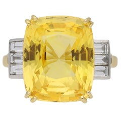 Old Cut Natural Unenhanced Ceylon Yellow Sapphire Diamond Ring