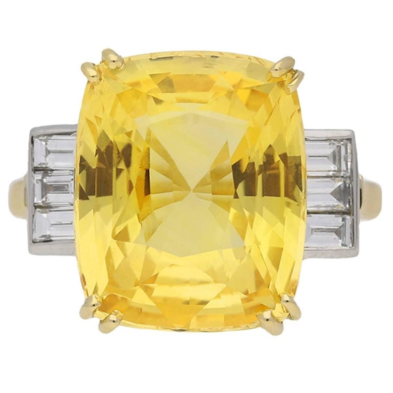 Old Cut Natural Unenhanced Ceylon Yellow Sapphire Diamond Ring For Sale