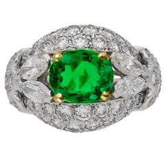 Cartier Paris Natural Colombian Emerald Diamond Gold Cluster Ring