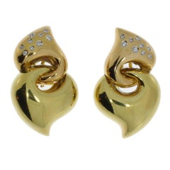 Modern Diamond Gold Entwined Hearts Earrings