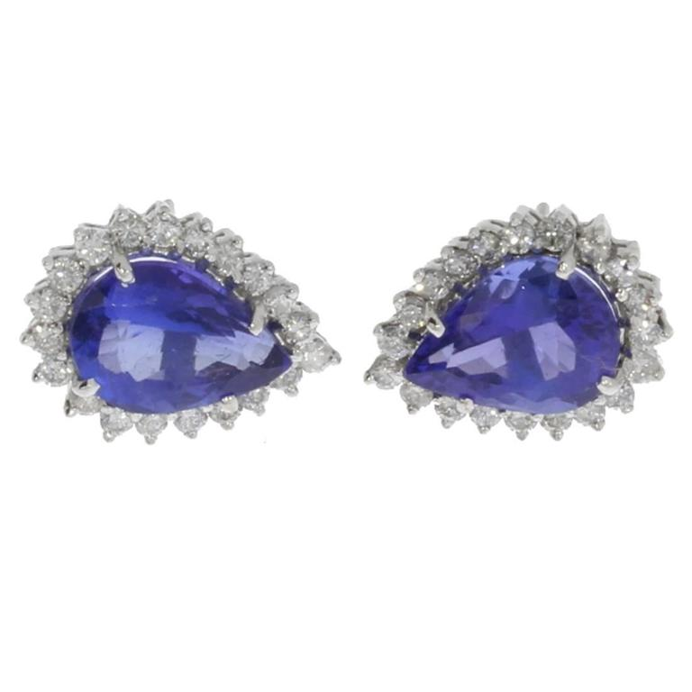 Charming Tanzanite Diamond Gold Stud Earrings For Sale