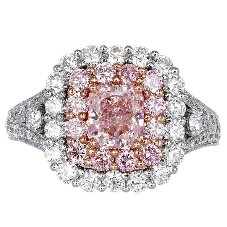 1.00 Carat GIA Certified Natural Pink Diamond Gold Ring For Sale