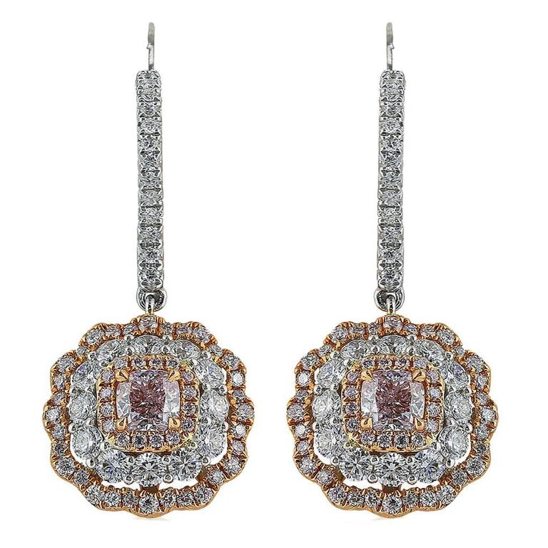 Natural Two-Color Diamond Gold Drop Earrings