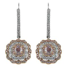 Natural Two Color Diamond Gold Drop Earrings