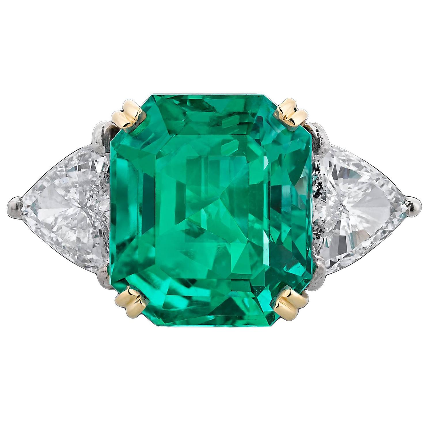 Colombian Emerald Diamond Gold Ring For Sale At 1stdibs