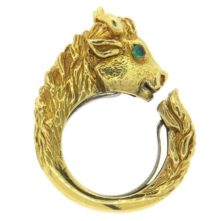 David Webb Emerald Gold Bull Head Ring