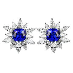 7.75 Carat Sapphire Diamond Platinum Cluster Earrings