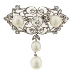Edwardian Natural Pearl Diamond Platinum Brooch