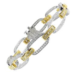 Colorless and Canary Diamond Gold Platinum Link Bracelet