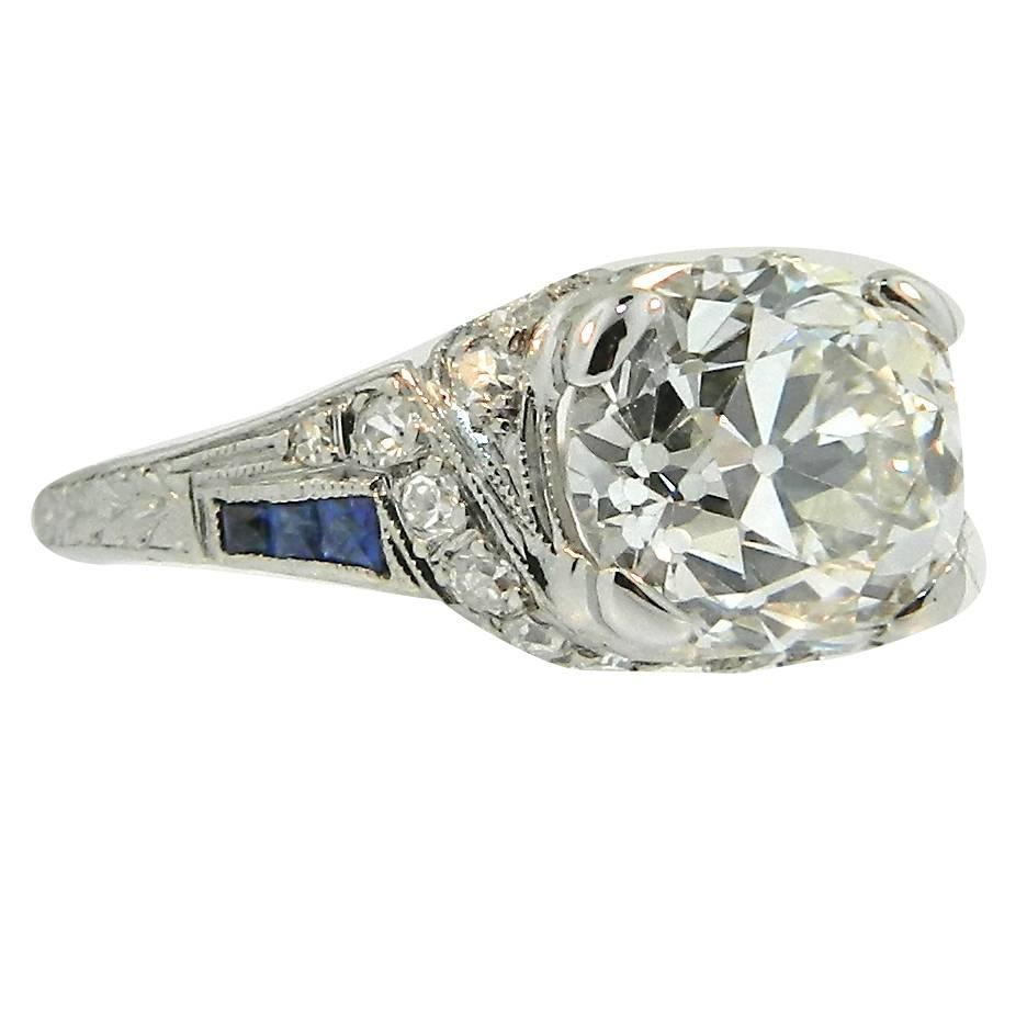 1920s deco 2 13 carat cert sapphire platinum engagement ring for sale at 1stdibs