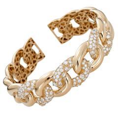 Diamond Gold Link Cuff Bracelet