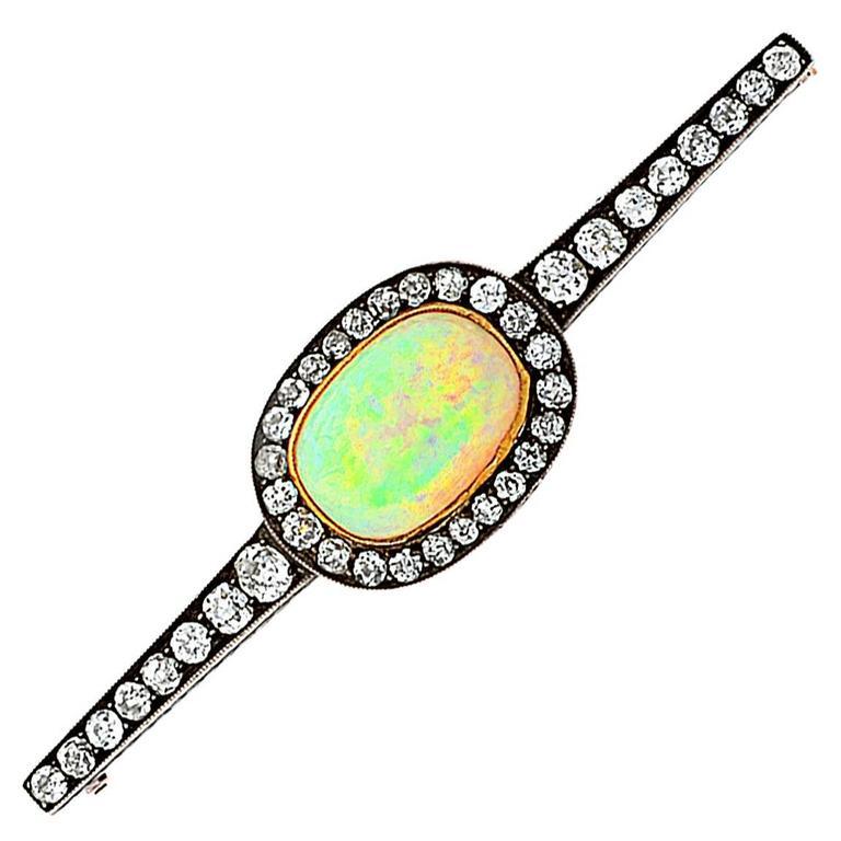 Antique Russian Opal Diamond Gold Pin