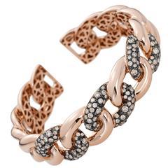Brown Diamond Gold Cuff Bracelet