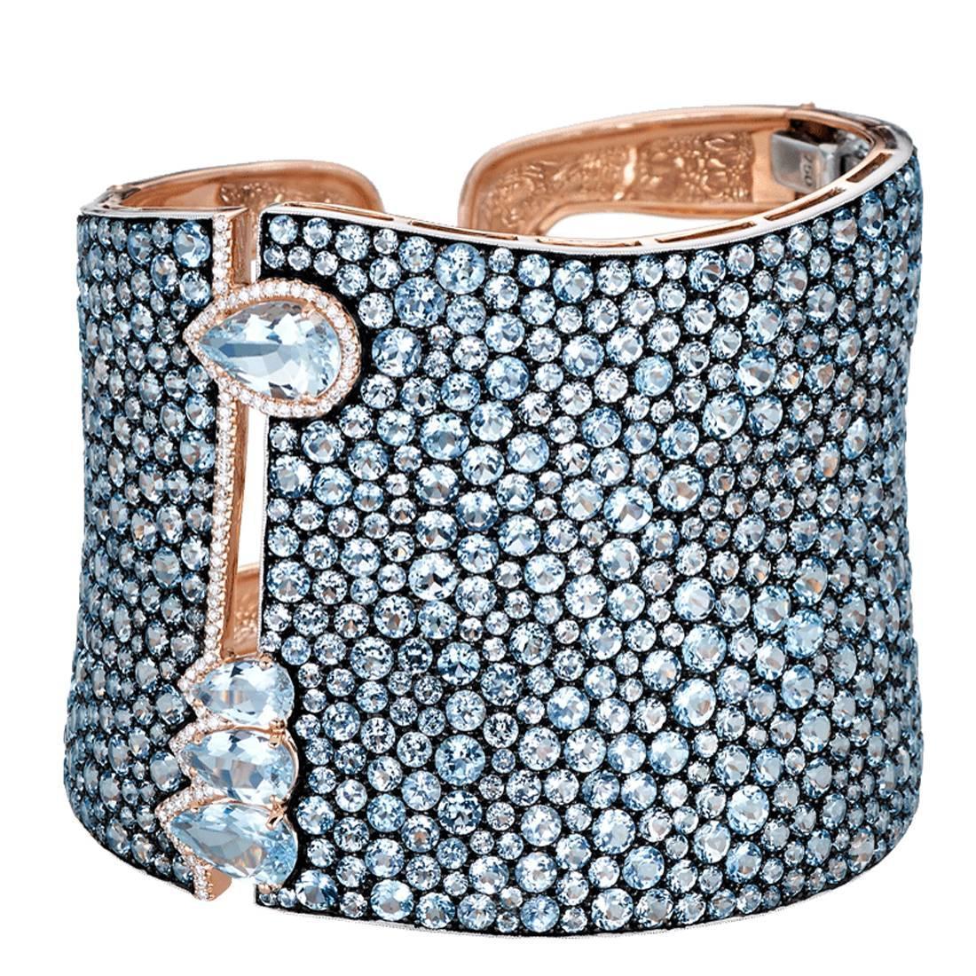 Stunning Blue Topaz Aquamarine Silver Gold Cuff Bracelet