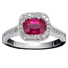Untreated 1.02 Carat Burmese Ruby Diamond Platinum Ring