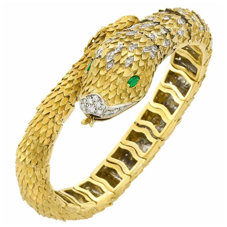 Movado Two Color Gold Diamond Emerald Bracelet Wrisch For