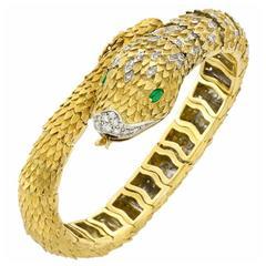 Movado Two Color Gold Diamond Emerald Bracelet Wristwatch