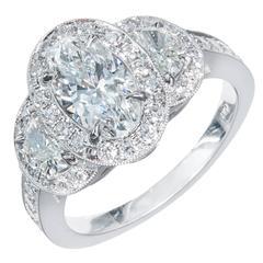 Peter Suchy Oval Diamond Half Moon Triple Halo Platinum Engagement Ring