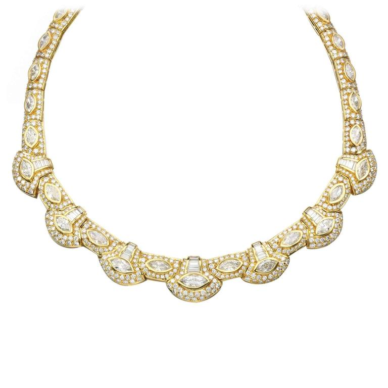 1980s Diamond Gold Necklace