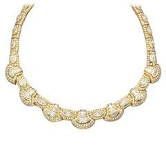 1980s Diamond Gold Necklace