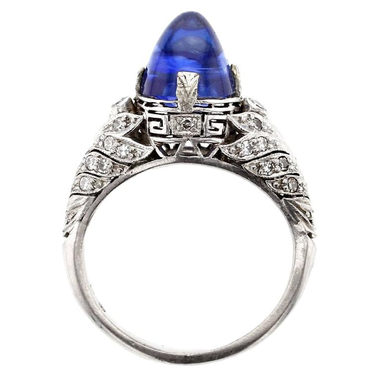 Art Deco 4 Carat Kashmir Sapphire Diamond Platinum Ring
