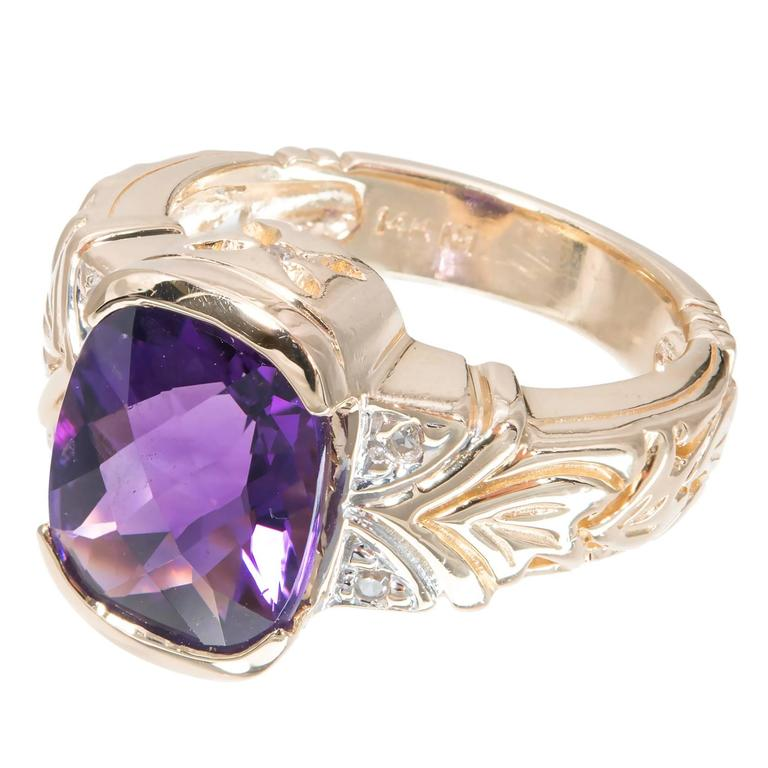 Faceted Amethyst Diamond Gold Ring