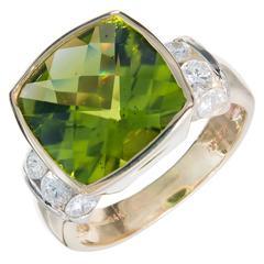 Bright Green Peridot Diamond Gold Ring
