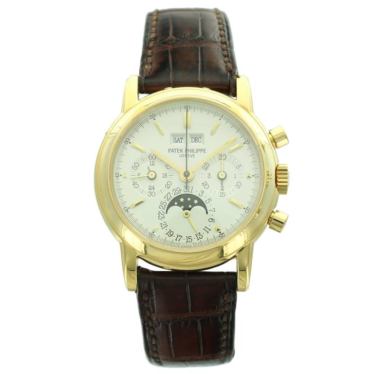 Patek Philippe Yellow Gold Perpetual Calendar Chronograph Wristwatch Ref 3970J 1