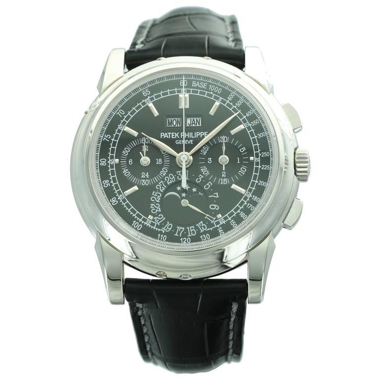 Patek Philippe Platinum Perpetual Calendar Chronograph Wristwatch Ref 5970P For Sale