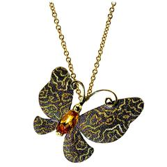 Alex Soldier Citrine Yellow Gold Butterfly Pendant Necklace Pin On Gold Chain
