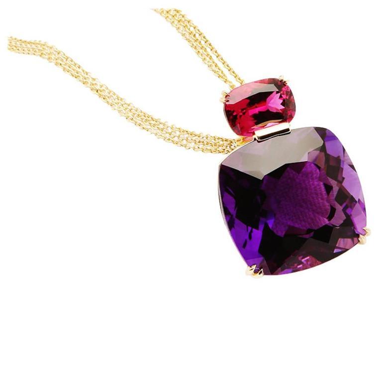 David Precious Gems Big Bold Rubellite Amethyst Gold Pendant For Sale