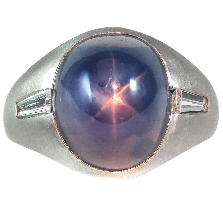 Star Sapphire Diamond Platinum Ring For Sale At 1stdibs