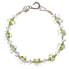 Deborah Liebman Crystal Quartz Peridot Sterling Silver Yellow Gold Necklace