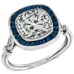 Awesome 3.42 Carat Diamond Sapphire Platinum Engagement Ring