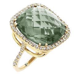21-Carat Green Amethyst Diamond Gold Ring