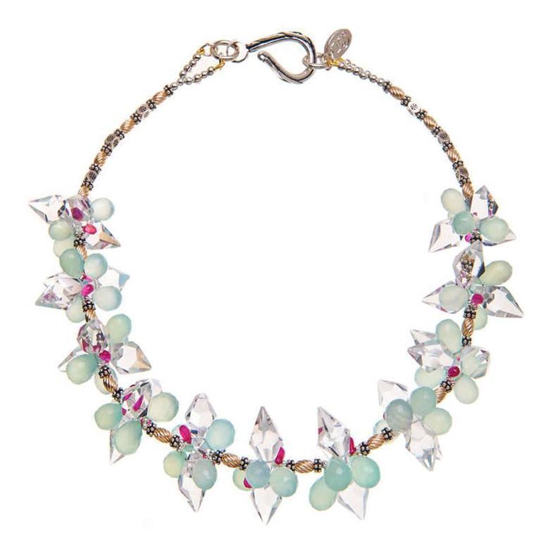 Deborah Liebman Crystal Quartz Rubies Aquamarine Chalcedony Silver Gold Necklace
