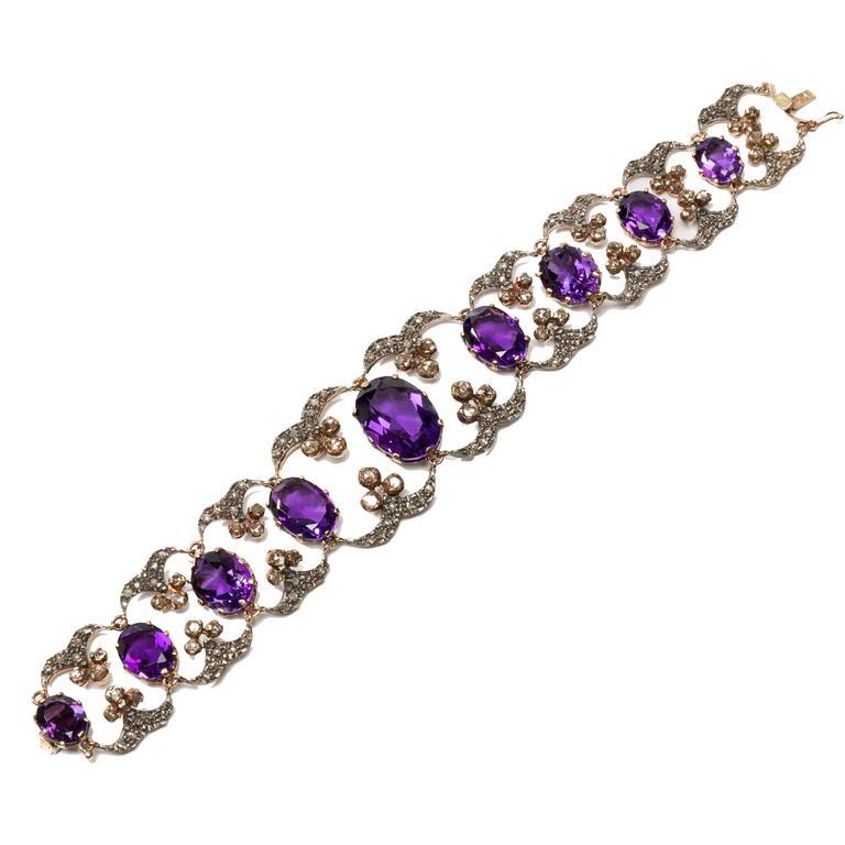 Handsome Amethyst Diamond Silver Gold Bracelet