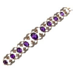 Amethyst Diamond Silver Gold Bracelet