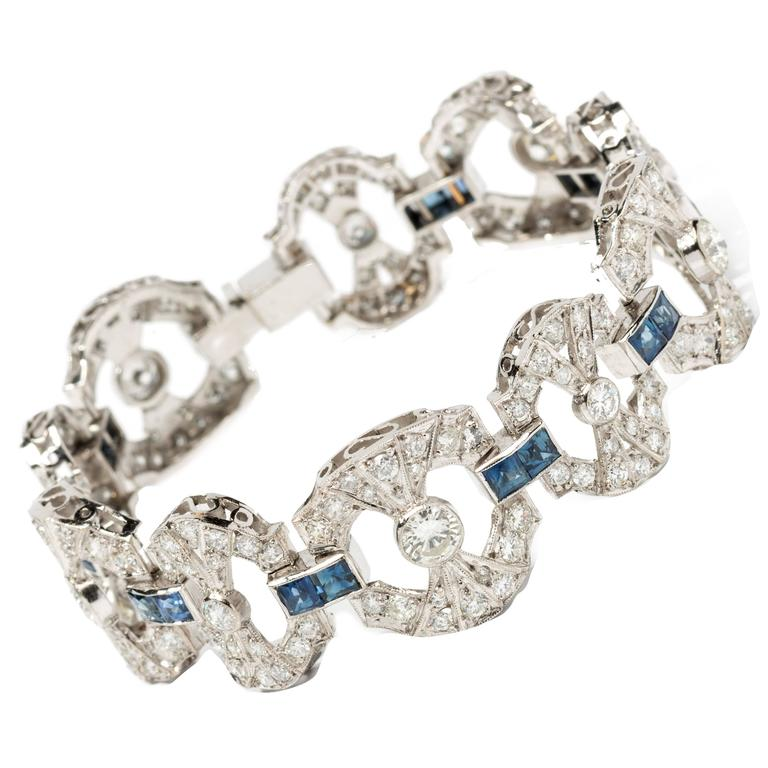 Art Deco Sapphire Diamond Platinum Link Bracelet For Sale