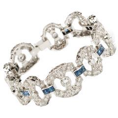 Art Deco Sapphire Diamond Platinum Link Bracelet