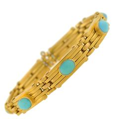 Victorian French Expandable Gate Link Turquoise Gold Bracelet