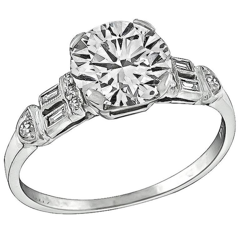 1.52 Carat Round Brilliant Cut Diamond Platinum Engagement Ring